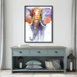 Framed 36 x 48 - Colorful walking elephant