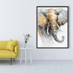 Framed 36 x 48 - Beautiful golden elephant