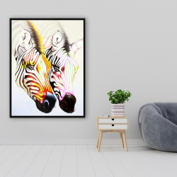 Framed 36 x 48 - Couple of colorful zebras