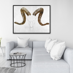 Framed 36 x 48 - Aeries skull with brown horns