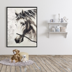 Framed 36 x 48 - Alpha the white horse