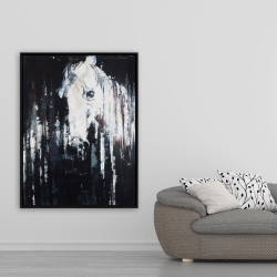 Framed 36 x 48 - Abstract horse on black background