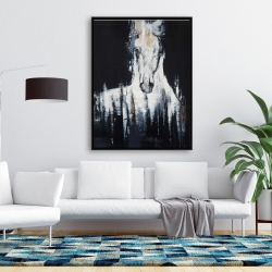 Framed 36 x 48 - Abstract white horse on black background