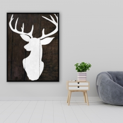 Framed 36 x 48 - Silhouette of a deer on wood
