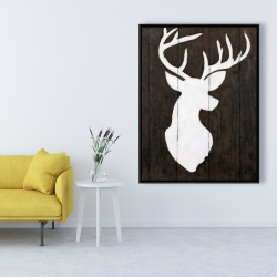 Framed 36 x 48 - White silhouette of a deer on wood
