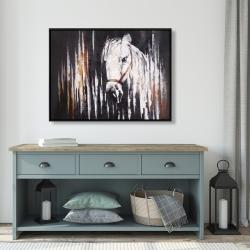 Framed 36 x 48 - White horse in the dark