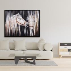 Framed 36 x 48 - Two white horses kissing