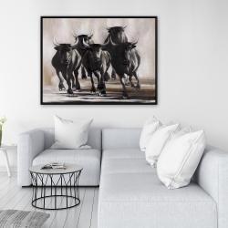 Framed 36 x 48 - Group of running bulls