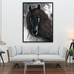Framed 36 x 48 - Dark brown horse