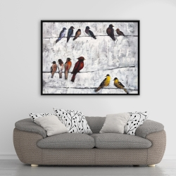 Framed 36 x 48 - Colorful birds on branches