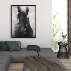 Framed 36 x 48 - Black horse