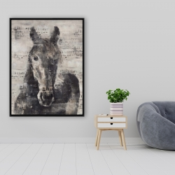 Framed 36 x 48 - Abstract horse with typography