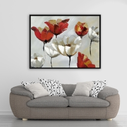 Framed 36 x 48 - Abstract red and white flowers