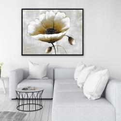 Framed 36 x 48 - Modern beige flower
