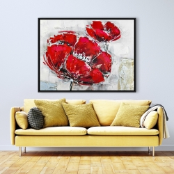 Framed 36 x 48 - Abstract and texturized red flowers