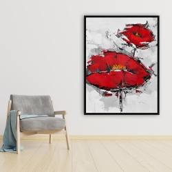 Framed 36 x 48 - Texturized red poppies
