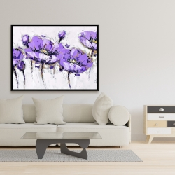 Framed 36 x 48 - Abstract purple flowers