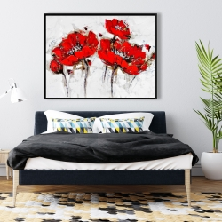 Framed 36 x 48 - Abstract poppy flowers
