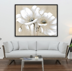 Framed 36 x 48 - White abstract wild flowers