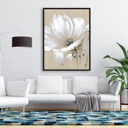 Framed 36 x 48 - White abstract wild flower