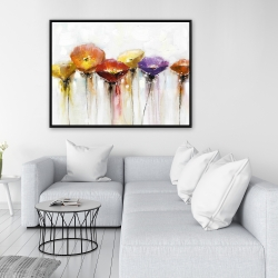 Framed 36 x 48 - Multiple colorful abstract flowers