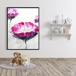 Framed 36 x 48 - Pink wild flowers