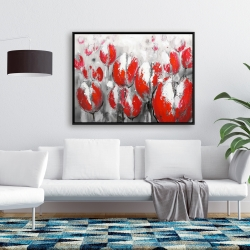 Framed 36 x 48 - Abstract red tulips