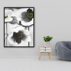 Framed 36 x 48 - Black and white flowers