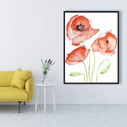 Framed 36 x 48 - Watercolor poppies