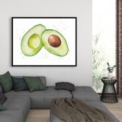 Framed 36 x 48 - Watercolor open avocado