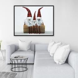 Framed 36 x 48 - Three christmas gnomes