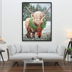 Framed 36 x 48 - Highland christmas cow
