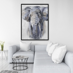 Framed 36 x 48 - Pastel blue elephant