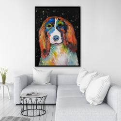 Framed 36 x 48 - Colorful dog