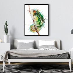 Framed 36 x 48 - Watercolor chameleon