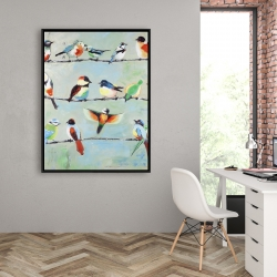 Framed 36 x 48 - Small abstract colorful birds