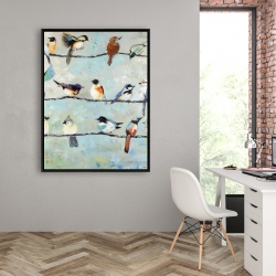 Framed 36 x 48 - Small colorful birds