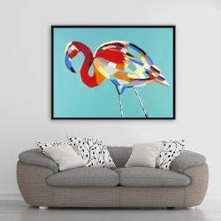 Framed 36 x 48 - Abstract flamingo