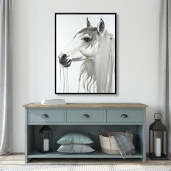Framed 36 x 48 - Beautiful white horse