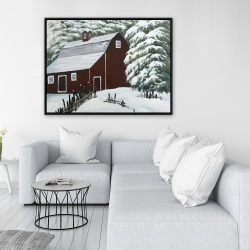 Framed 36 x 48 - Red barn in snow