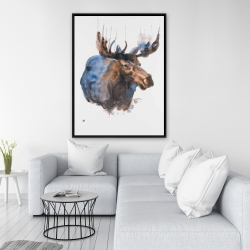 Framed 36 x 48 - Abstract blue moose
