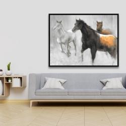 Framed 36 x 48 - Abstract herd of horses