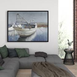 Framed 36 x 48 - Blue fishing boat