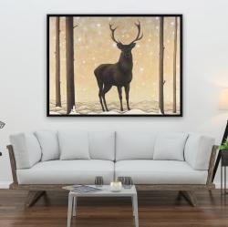 Framed 36 x 48 - Roe deer in winter