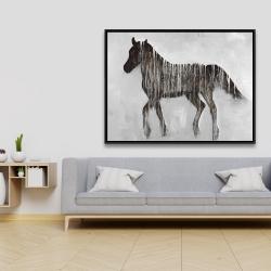Framed 36 x 48 - Gambading abstract horse