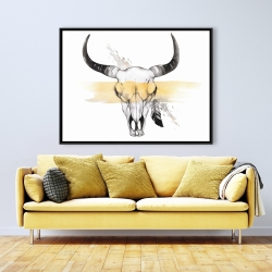Framed 36 x 48 - Cow skull with feather