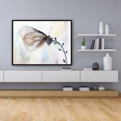 Framed 36 x 48 - Butterfly on blue flowers