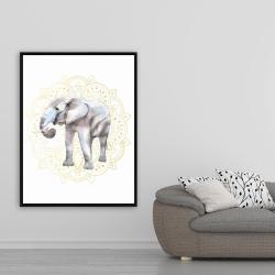 Framed 36 x 48 - Elephant on mandalas pattern