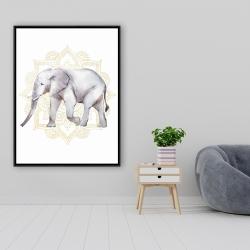 Framed 36 x 48 - Elephant on mandalas