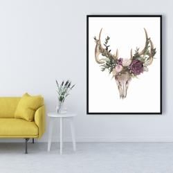 Framed 36 x 48 - Deer skull with flowers